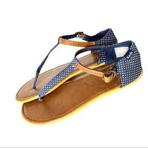 Keds Navy and White Polka Dot T Strap Sandals 7